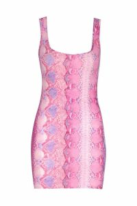 Womens Petite Snake Print Mini Bodycon Dress - Pink - 14, Pink