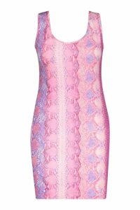 Womens Plus Snake Print Mini Dress - Pink - 26, Pink