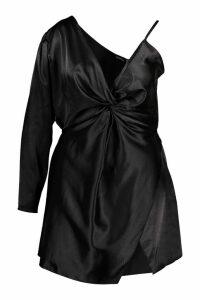 Womens Plus Satin One Shoulder Wrap Dress - black - 26, Black