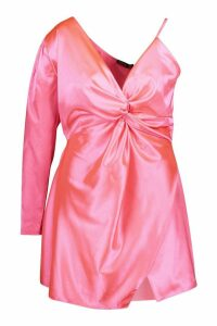 Womens Plus Satin One Shoulder Wrap Dress - pink - 26, Pink