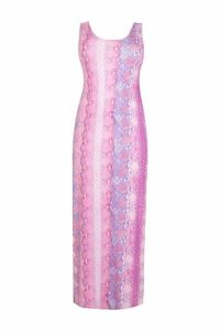 Womens Plus Snake Print Maxi Dress - Pink - 20, Pink
