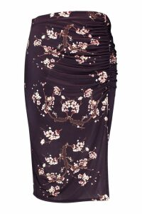 Womens Plus Slinky Cherry Blossom Ruched Split Midi Skirt - black - 26, Black
