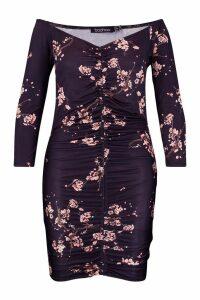 Womens Plus Slinky Cherry Blossom Rouched Mini Dress - black - 26, Black