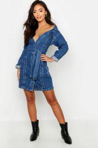 Womens Petite Off The Shoulder Belted Denim Dress - blue - 12, Blue