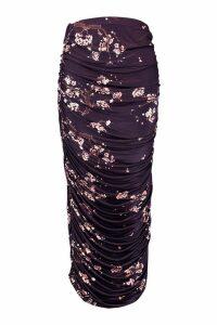 Womens Plus Slinky Cherry Blossom Ruched Midaxi Skirt - black - 18, Black