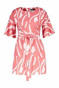 Womens Petite Abstract Animal Frill Sleeve Tie Shift Dress - Pink - 14, Pink