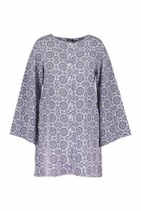 Womens Plus Printed Button Up Long Sleeve Smock Dress - blue - 18, Blue