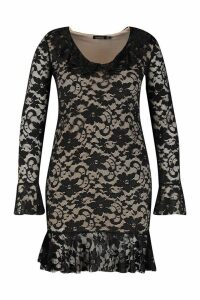 Womens Plus Lace Ruffle Bodycon Dress - black - 20, Black