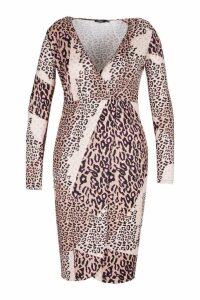 Womens Plus Slinky Mixed Leopard Wrap Midi Dress - brown - 26, Brown
