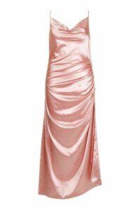 Womens Plus Satin Cowl Neck Maxi Dress - pink - 22, Pink