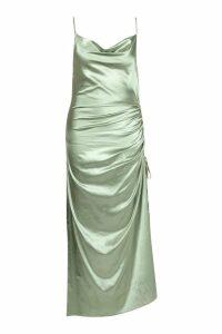 Womens Plus Satin Cowl Neck Maxi Dress - green - 20, Green