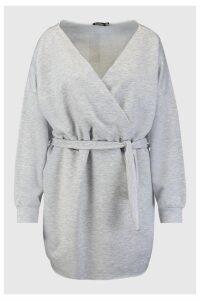 Womens Plus Loopback Wrap Sweat Dress - grey - 16, Grey