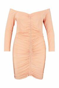 Womens Plus Off Shoulder Rouched Mini Dress - orange - 20, Orange