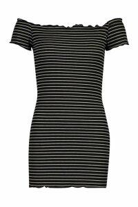 Womens Petite Rib Stripe Lettuce Hem Bardot Mini Dress - black - 6, Black
