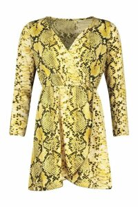 Womens Petite Wrap Snake Skater Dress - yellow - 8, Yellow