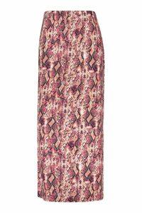 Womens Plus Pink Snake Maxi Skirt - 20, Pink