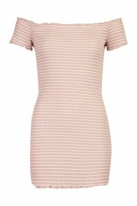 Womens Petite Rib Stripe Lettuce Hem Bardot Mini Dress - pink - 8, Pink