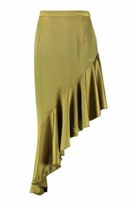 Womens Plus Satin Ruffle Asymmetric Midi Skirt - green - 18, Green