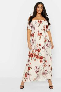 Womens Plus Floral Off Shoulder Maxi Dress - white - 18, White