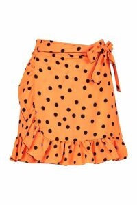Womens Petite Ruffle Neon Spot Mini Skirt - orange - 10, Orange