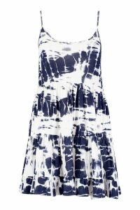 Womens Plus Tie Dye Strappy Smock Dress - blue - 16, Blue
