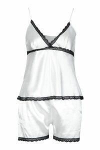 Womens Contrast Lace Trim Satin Short Set - white - XL, White