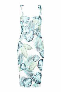 Womens Petite Cupped Palm Print Midi Dress - white - 4, White