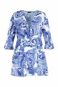 Womens Plus Paisley Skater Dress - blue - 20, Blue