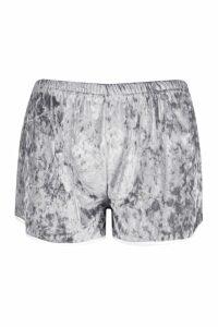 Womens Petite Velour Trim Detail Runner Shorts - grey - 12, Grey