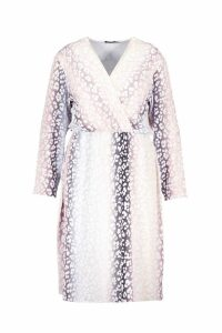 Womens Plus Ombre Leopard Wrap Midi Dress - pink - 18, Pink