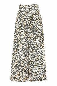 Womens Petite Animal Print Woven Split Maxi Skirt - brown - 8, Brown