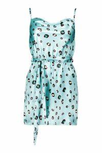 Womens Petite Leopard Print Satin Cowl Neck Mini Dress - blue - 14, Blue