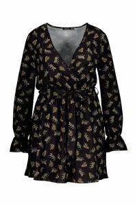 Womens Plus Woven Jungle Print Wrap Dress - black - 18, Black
