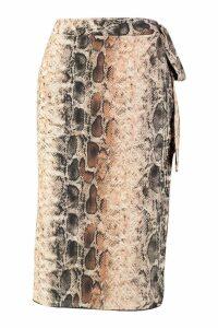 Womens Petite Snake Print Woven Wrap Midi Skirt - beige - 8, Beige