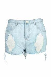 Womens Plus Stone Wash Ripped Denim Shorts - Blue - 20, Blue