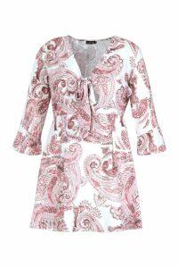 Womens Plus Paisley Skater Dress - Pink - 20, Pink