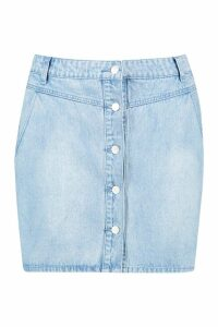 Womens Plus Yoke Front Button Through Denim Skirt - blue - 20, Blue