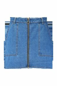 Womens Plus Denim Pocket Zip Detail Skirt - blue - 20, Blue