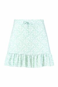 Womens Plus Ditsy Floral Tiered Mini Skirt - green - 20, Green