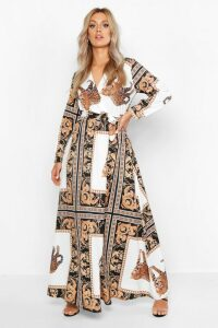 Womens Plus Chain Print Maxi Dress - white - 20, White