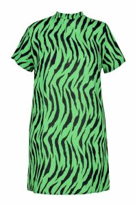 Womens Plus Zebra High Neck Woven Shift Dress - green - 16, Green
