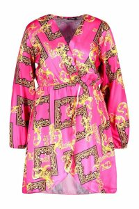 Womens Plus Satin Chain Print Wrap Midi Dress - Pink - 20, Pink