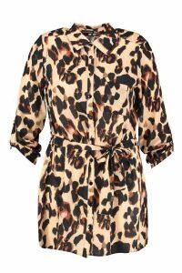 Womens Plus Leopard Woven Shirt Dress - multi - 20, Multi