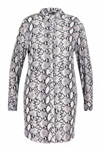 Womens Plus Snake Oversized Shirt Dress - grey - 24, Grey