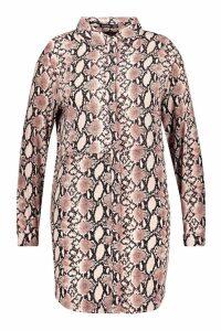 Womens Plus Snake Oversized Shirt Dress - pink - 28, Pink