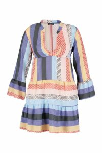 Womens Plus Patchwork Smock Dress - purple - 16, Purple