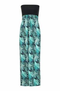 Womens Petite Palm Print Bandeau Maxi Dress - black - 14, Black