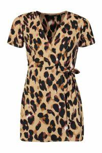 Womens Petite Leopard Print Woven Wrap Dress - beige - 12, Beige