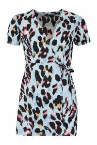 Womens Petite Leopard Print Woven Wrap Dress - blue - 12, Blue