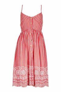 Womens Petite Stripe Embroidered Hem Midi Dress - 8, Red